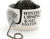 Game of Thrones,Winter is coming knit faster yarn bowl, GOT fan art, gift for knitting crochet knit bowl, grey and white