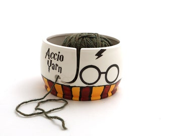 Harry Potter yarn bowl, knit bowl, home and living, Harry Potter knitting, Gryffindor scarf design, gift for knitter, large ceramic bowl