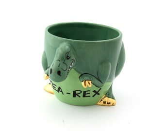 tea-rex mug, t rex, dinosaur mug, gift for tea lover, large 16 oz, fired metallic 22K gold accents