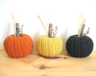 Fall Decor, Crocheted Pumpkins Autumn Decor, Halloween Decoration Harvest Thanksgiving Decor, Pumpkin Decor, Rustic Home Decor Country Decor