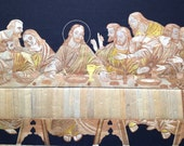 The Last Supper  Leanardo De Vinci Masterpiece in rice straw art. Handmade with over four thousands of tiny pieces of rice straw!Ancient art