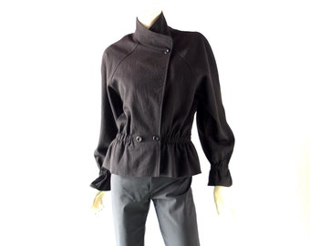 Vintage 1980s Betty Hanson New York Black Wool Moto Jacket - size 8 Designer Sample - 80s Goth Realness  - Japanese Minimalism Chic