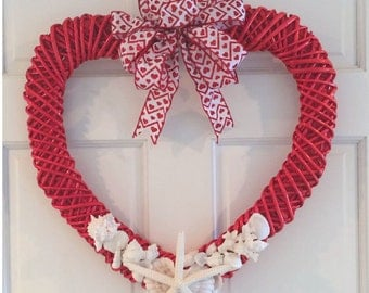 BEACH DECOR VALENTINE'S Day wreath, shells and starfish heart wreath, door wreath, red heart, valentine, coastal, nautical, red white wreath