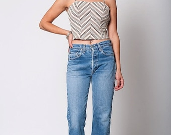 35% OFF SUMMER SALE The Vintage Striped Cropped Spaghetti Strap Tank