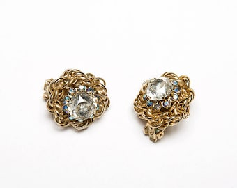 The Vintage Gold Plated Iridescent Gem Flower Clip On Costume Earrings