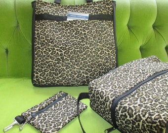 Three Piece Travel or Sports Set in Leopard fabric: Tote, Shoebag and Clip-on