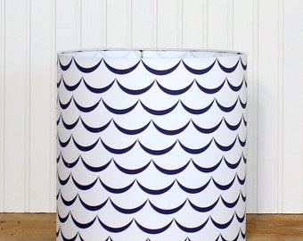 Nautical Drum Shade - Children's Lamp Shade - Blue and White - Lampshade - Cottage Drum Shade - Modern Lamp Shade - Beach - Waves - Navy