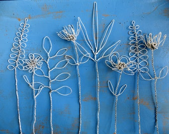 Wire Flowers Boho Bouquet Sculpture in Distressed White
