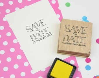 Custom or Personalised Save The Date Stamp - Wooden Block
