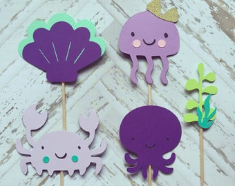 1 Dozen Sea Creatures Cupcake Picks-baby shower, birthdays