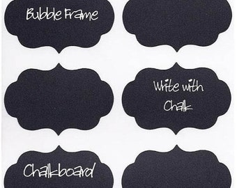 On SALE- 12 Chalk Labels® Bubble Frame Style, Chalkboard Labels, Chalkboard Stickers, Mason Jar Labels