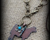 """Rustic Metal Show Steer, Cattle on Boho Style Silk Ribbon & Chain Necklace 28"""""""