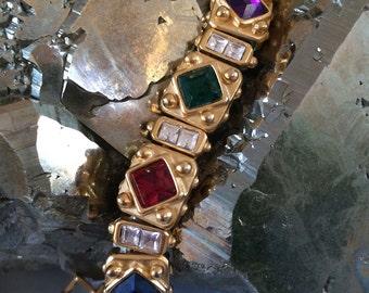 Cool Retro Bracelet #3, Blanca, Jewel Colors, Matte Gold, Etruscan Revival Design, Crystals, Hinged Link Construction, Pristine Condition