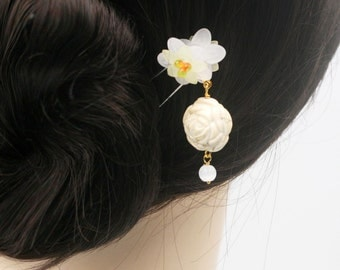 Ivory rose dangle hair fork (HF)