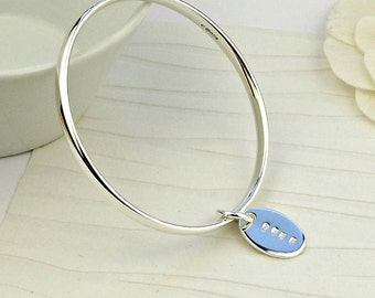 Simple Silver Bangle - Personalised -silver bangle-simple bangle-minimal bangle-personalised jewellery-valentine gift-personalized bangle-uk