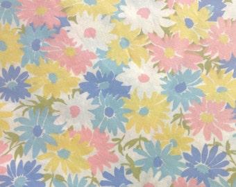 Twin Flat Sheet Daisies Pink Blue Wamsutta
