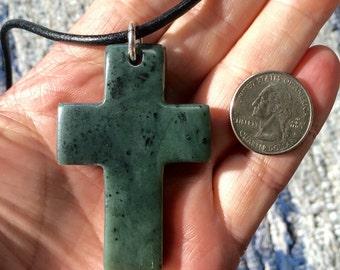 Emerald Ice Jade Carved Slab Cross Pendant