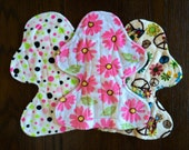 "Set of Three 11"" Heavy Flow Postpartum Reusable Cloth Pad ~ Blossom, Pink and Lime Dot, and Groovy Minky ~ by Talulah Bean"