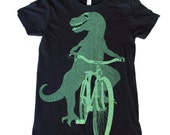 Womens TSHIRT DINOSAUR on a BICYCLE Shirt - Black T-Shirt - American Apparel Available in S  M  L  xL