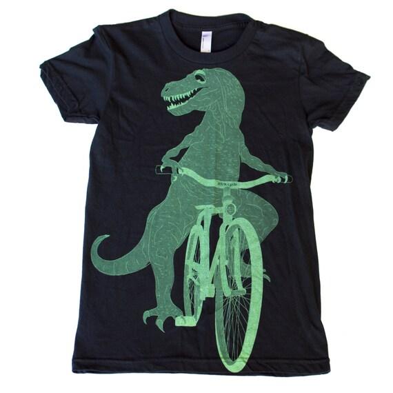 Dinosaur on a Bicycle- Womens T Shirt, Ladies Tee, Cotton Tee, Handmade graphic tee, sizes s-xL