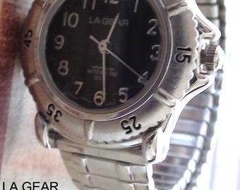Women Wrist Vintage LA GEAR Quartz Watch Bracelet 1990's Working New Battery Stretchable Band