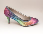 Tiny Sequin | 3 Inch Rainbow Multi Colored High Heels Pumps Dress Shoes