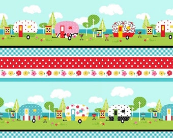 ADORABLE! Camper Fabric By Henry Glass Cotton Colorful Camper Border Fabric By The Yard