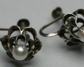 Vintage Sterling and Pearl Earrings - Screw Back Findings