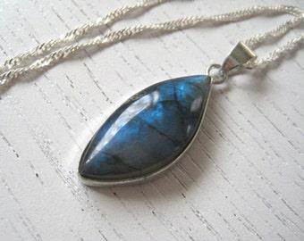 SALE - Deep Blue Freeform Labradorite Pendant Necklace