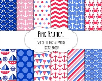 Pink Nautical Digital Scrapbook Paper 12x12 Pack - Set of 12 - Anchor, Sailboat, Crab, Chevron - Instant Download - Item# 8282