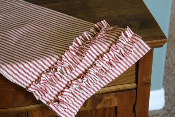 Ruffled Ticking Cotton Table Runner - Select Length and Color