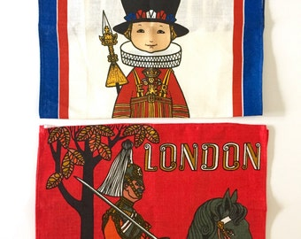 TWO Tea Towels Vintage LONDON Royal Guards Horse Souvenir Ulster Wall Hangings