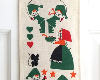 Vintage CHRISTMAS Wall Hanging Linen Textile Mothers Elves Mice Cookies Scandinavian
