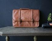 Leather Briefcase Messenger Bag Portfolio File Case Tan 1980s Vintage From Nowvintage on Etsy