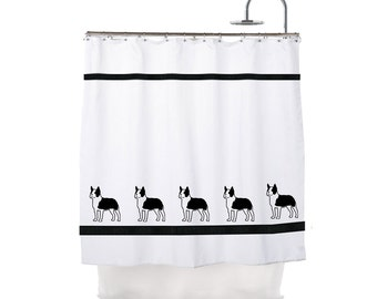 Boston Terrier Dog Shower Curtain  -  In Your Choice of Colors