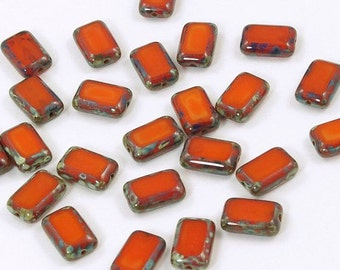 Czech Glass 8x12mm Opaque Orange Picasso Rectangle Beads - 12