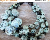 SALE Kiwi Jasper Chunky Beaded Multi Strand Necklace, Pale Green Black Celadon