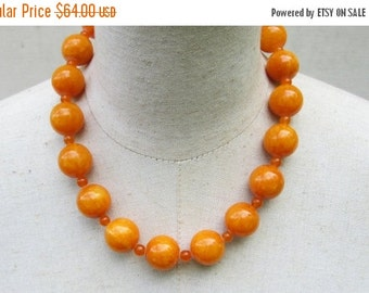 LABOR DAY SALE Buttercotch Orange Chunky Beaded Statement Necklace