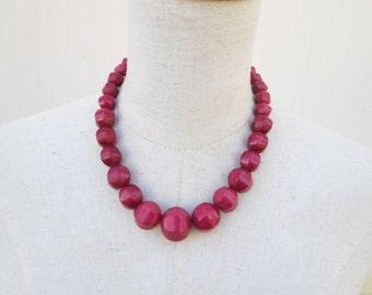 Marsala Deep Berry Chunky Beaded Necklace