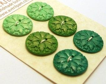 Handmade Round Buttons Green Shades Metallic Effect 20mm