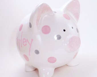 2 Color Polka Dot Piggy Bank - Personalized Nursery Piggy Bank - Polka Dot Decor Bank - Kids Piggy Bank - with hole or NO hole in bottom