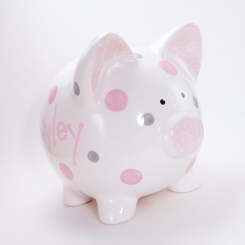 2 color polka dot piggy bank personalized nursery by thepigpen