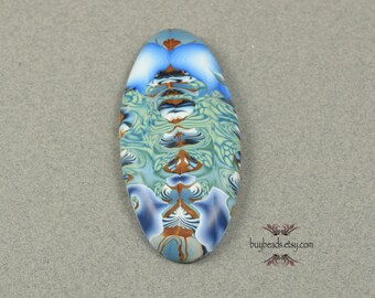 Polymer Clay Cabochon, Handmade, Oval, Denim Blue, Navy Blue, Leaf Green
