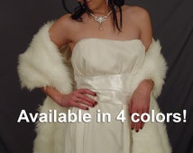 Faux fur Angora wrap shawl shrug stole long wedding bridal cover up FW202 AVAILABLE IN white, ivory, silver gray, black