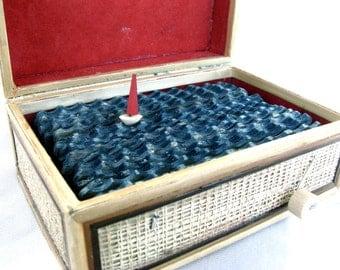 nautical sailboat sculpture, wooden hawaii box, hawaiian souvenir box, nautical home decor