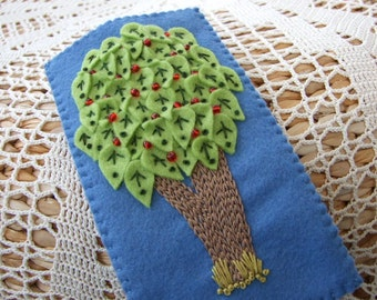 Hand Embroidered  Blue Felt Glasses Case