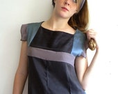 ON SALE Black, Peacock blue and Violet gray Geometric Vintage inspired Silk Dress