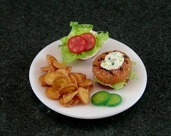 Grilled Salmon Burger with Potato Chips (1:12th Scale)