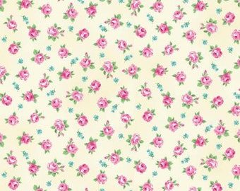 NEW Tea Party by RURU bouquet for Quilt Gate Small Floral cream 1 yard RU2270-16A YES!I combine shipping  and cut fabric continuously l