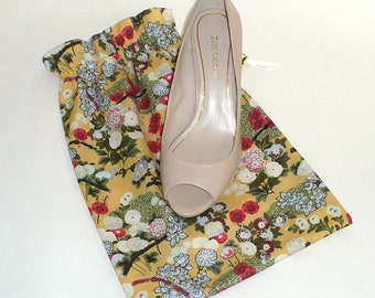 Asian Garden, Shoe Bags  -  Floral,  pink,  sage  green,  gold, Travel ,  Set of 2
